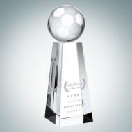 Optical Crystal Engraved Championship Soccer Trophy