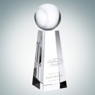 Engraved Optical Crystal Championship Baseball Trophy