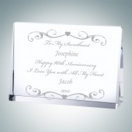 Engraved Optic Crystal Romantic Rectangle Plaques