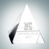 Clear Pyramid Engraved Optical Crystal Paperweight