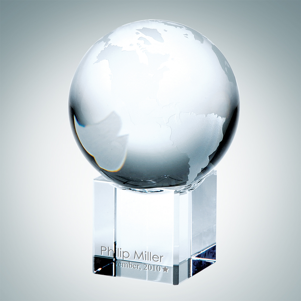 World Globe with Cube Base – Small