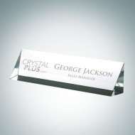 Engraved Optical Crystal Slant Front Desk Nameplate