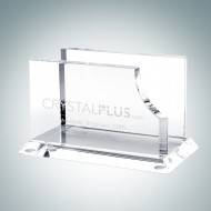 Engraved Optical Crystal Business Card Holder