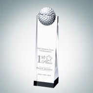 Engraved Optic Crystal Golf Ball Tower
