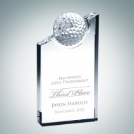 Engraved Optic Crystal Golf Pinnacle Award