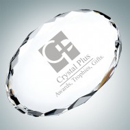 Gem-Cut Oval Engraved Optical Crystal Paperweight