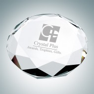Octagon Engraved Optical Crystal Paperweight