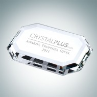 Beveled Rectangle Engraved Optical Crystal Paperweight
