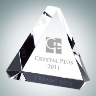 Beveled Triangle Engraved Optical Crystal Paperweight
