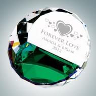 Color Coated Duet Round Engraved Optic Crystal Keepsakes