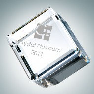 Engraved Optic Crystal Beveled Diamond Cube