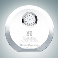 Circle Silver Engraved Optic Crystal Clock