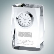 Beveled Column Engraved Optic Crystal Clock