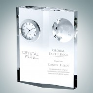 Globe Plaque Engraved Optic Crystal Clock