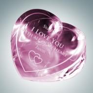 Forget-Me-Not Pink Heart Engraved Optical Crystal Keepsake
