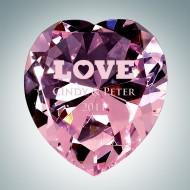 Now & Forever Pink Diamond Heart Engraved Optical Crystal Keepsake