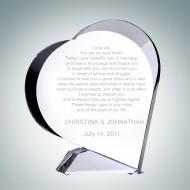 The Giving Heart Engraved Optical Crystal Keepsake