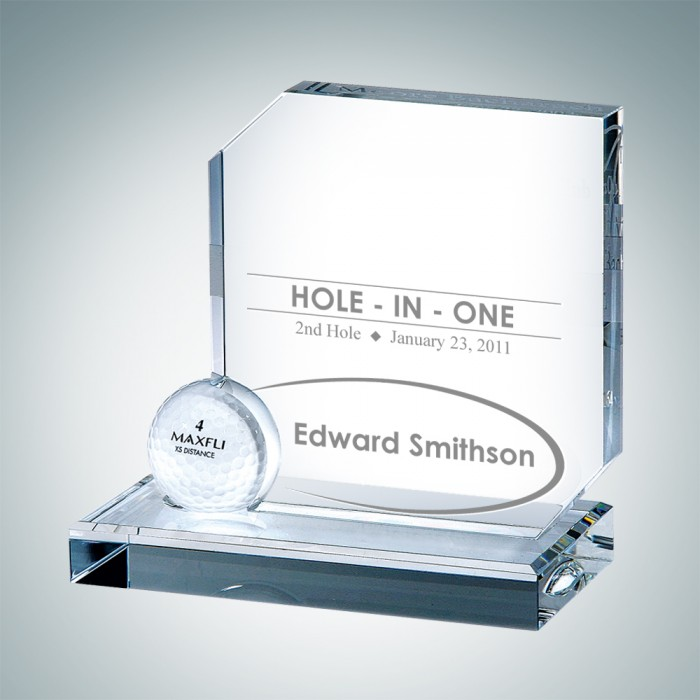 Sports trophies optical crystal hole in one award championship