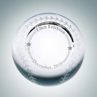 Engraved Optical Crystal Slanted Face Baseball Paperweight