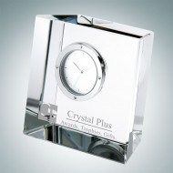 Slanted Block Engraved Optic Crystal Clock