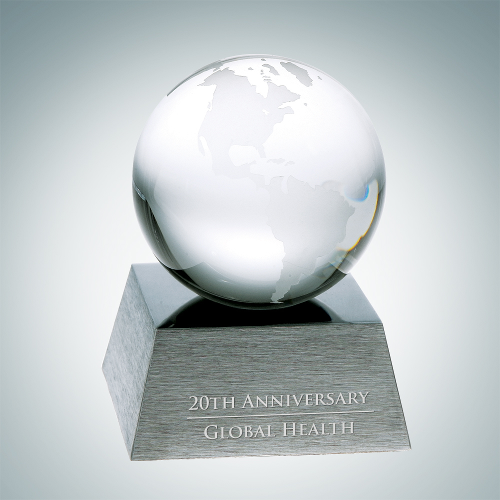 Clear Ocean Globe with Aluminum Base