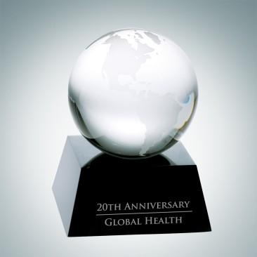 Clear Ocean Globe with Black Crystal Base
