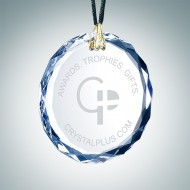 Engraved Optical Crystal Gem-Cut Round Christmas Tree Ornament