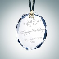 Engraved Optical Crystal Gem-Cut Octagon Christmas Tree Ornament