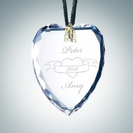 Engraved Optical Crystal Gem-Cut Heart Christmas Tree Ornament