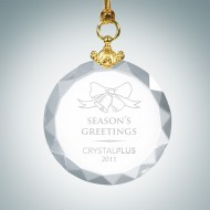 Engraved Optical Crystal Deluxe Circle Christmas Tree Ornament
