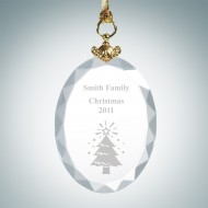 Engraved Optical Crystal Deluxe Oval Christmas Tree Ornament