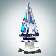 Optical Crystal Blue Spire Award