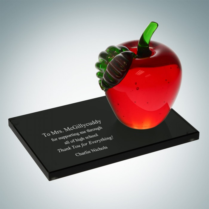 Apple with Black Glass Base