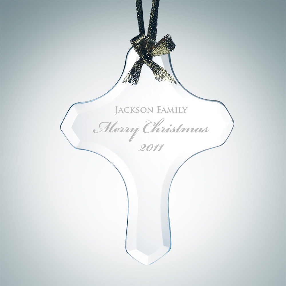Beveled Cross Shape Ornament