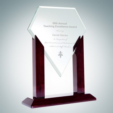 Heroic Jade Diamond Award with Wood Stand