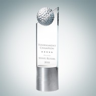 Engraved Optic Crystal Golf Pinnacle with Aluminum Base