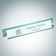 Engraved Slant Beveled Jade Glass Desk Nameplate