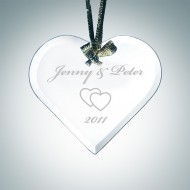 Engraved Jade Glass Beveled Heart Christmas Tree Ornaments