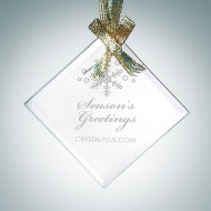 Engraved Jade Glass Beveled Square Diamond Christmas Tree Ornaments