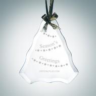 Engraved Jade Glass Beveled Tree Shape Christmas Tree Ornaments