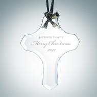 Engraved Jade Glass Beveled Cross Shape Christmas Tree Ornaments