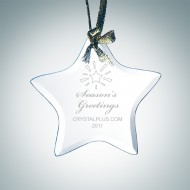 Engraved Jade Glass Beveled Star Christmas Tree Ornament