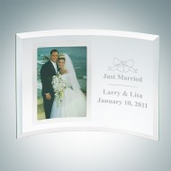 Curved Vertical Silver Engraved Jade Glass Picture Frames