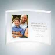 Curved Vertical Jade Glass Silver Father's Day Photo Frames