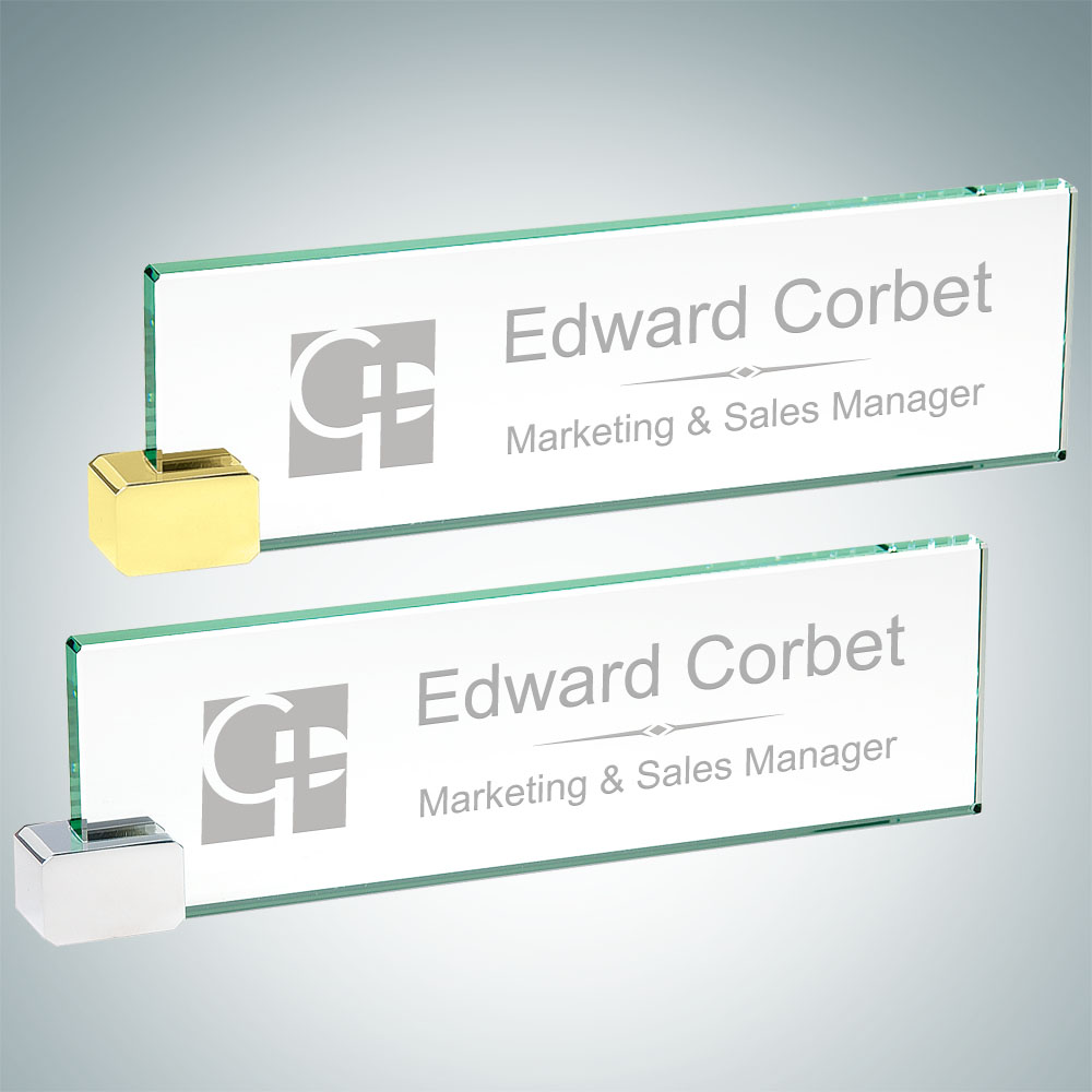 Nameplate with Rectangle holder - Chrome