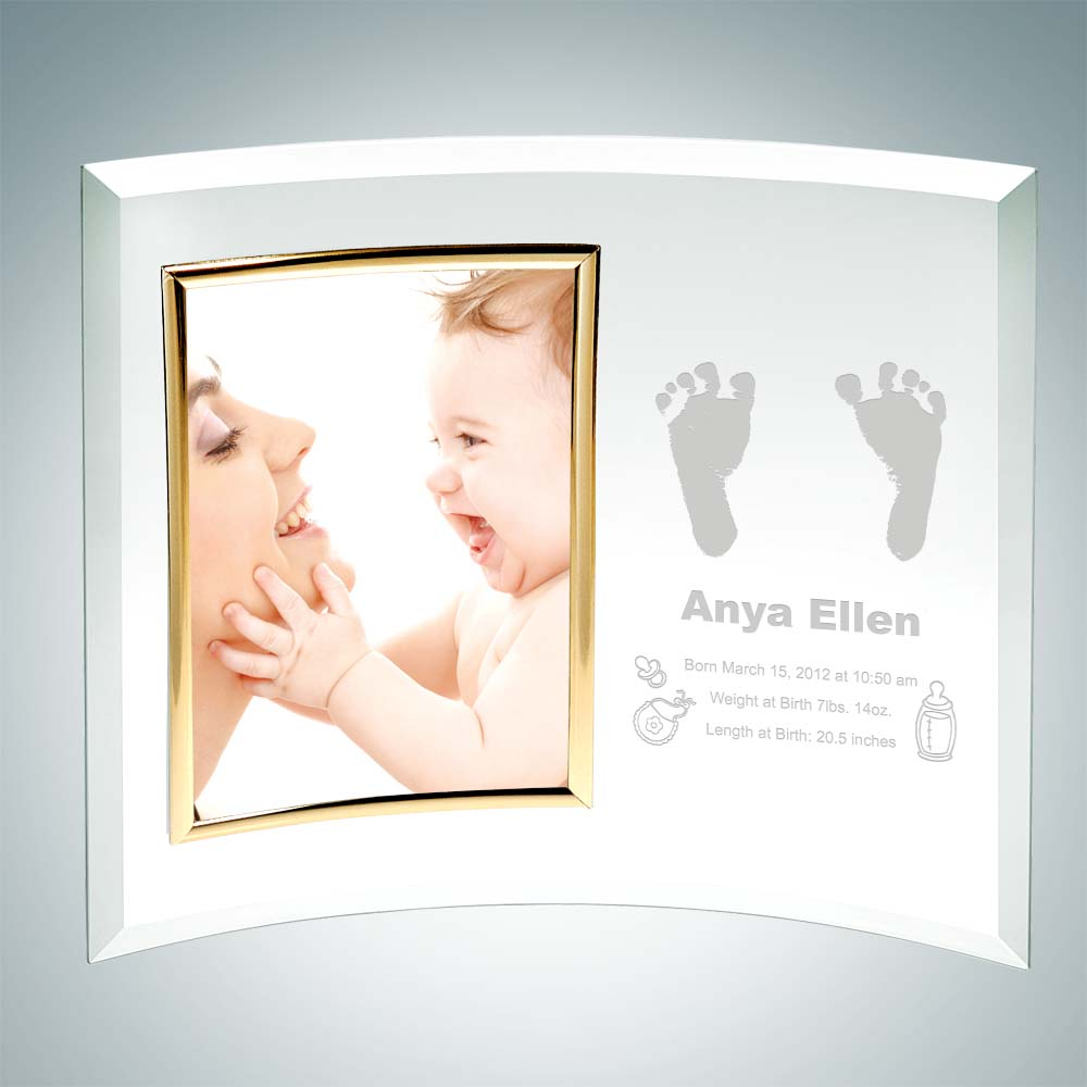 Curved Vertical Christmas Gold Photo Frame 3.5 x 5