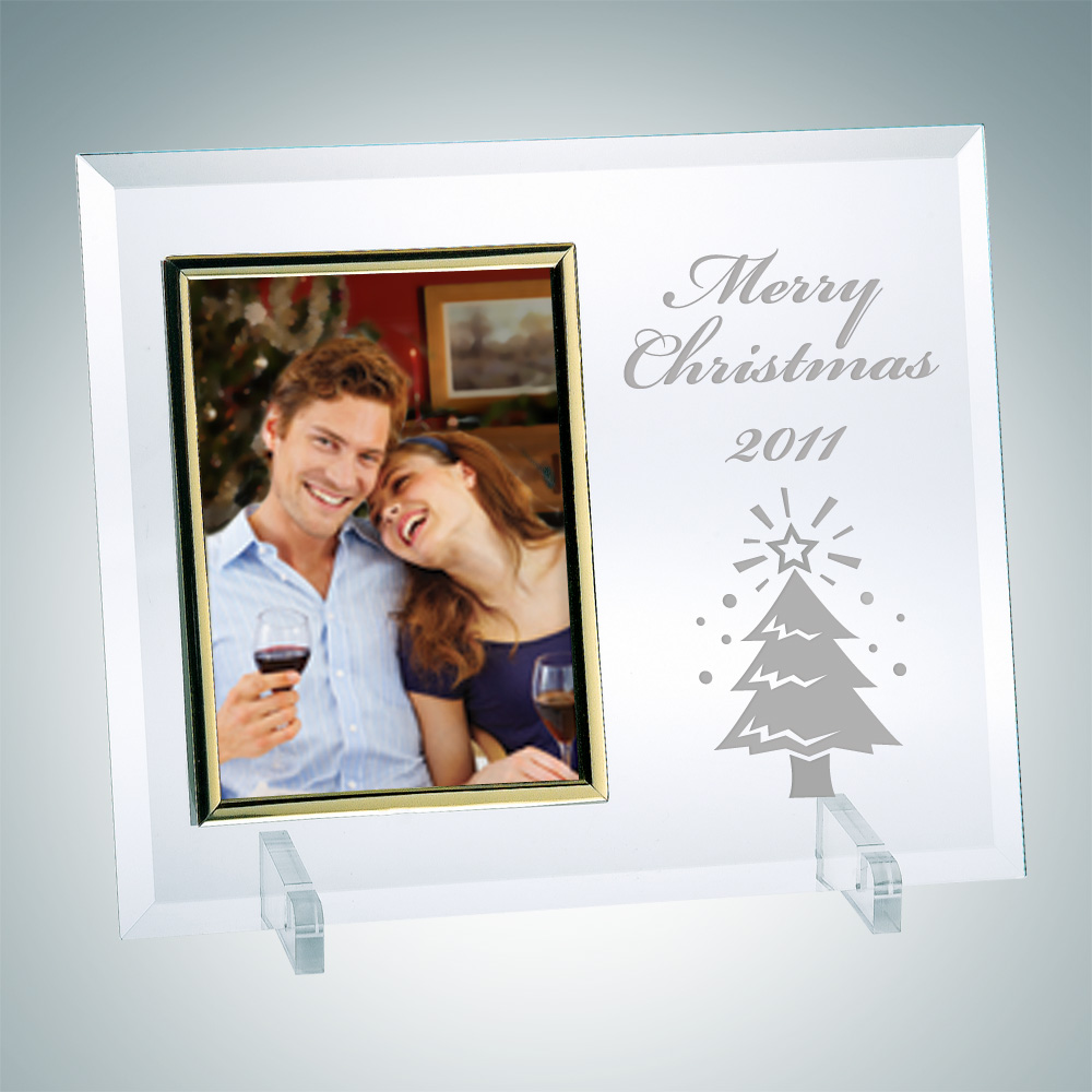 Vertical Gold Christmas Photo Frame 6 x 4 with Stand