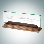 Engraved Jade Crystal Desk Nameplate with Walnut Base