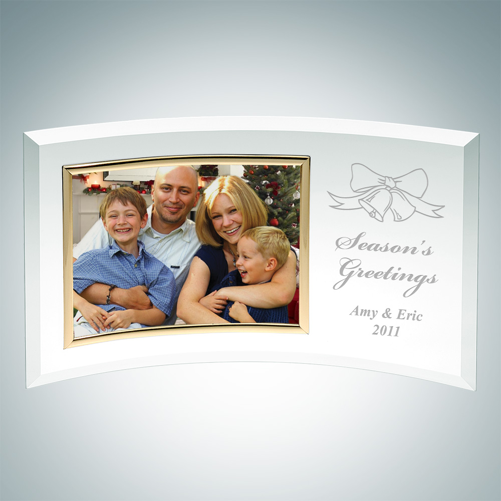 Curved Horizontal Christmas Gold Photo Frame 4 x 6