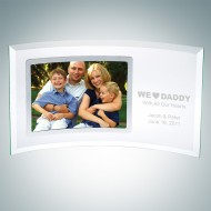 Curved Horizontal Jade Glass Silver Father's Day Photo Frames